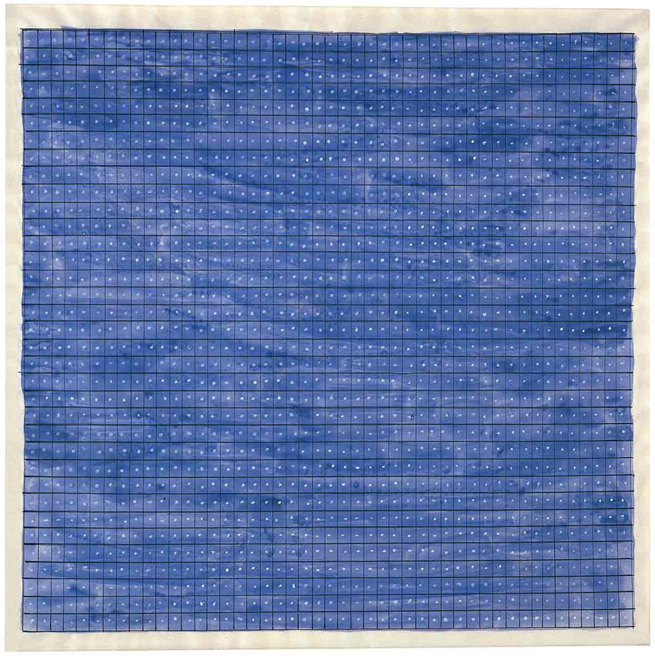 Square, blue Agnes Martin painting comprised of a grid, with a dot contained in each box