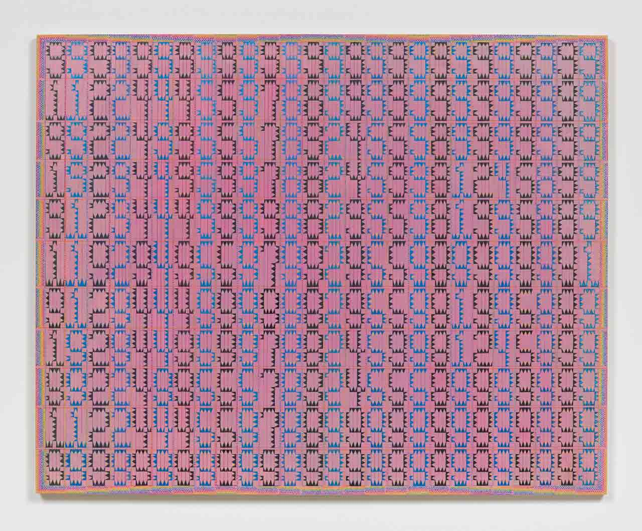 Horizontal pink painting with numbers (Twenty-six 11 digit prime palindromes arranged in columns selected from a group of 42,100)