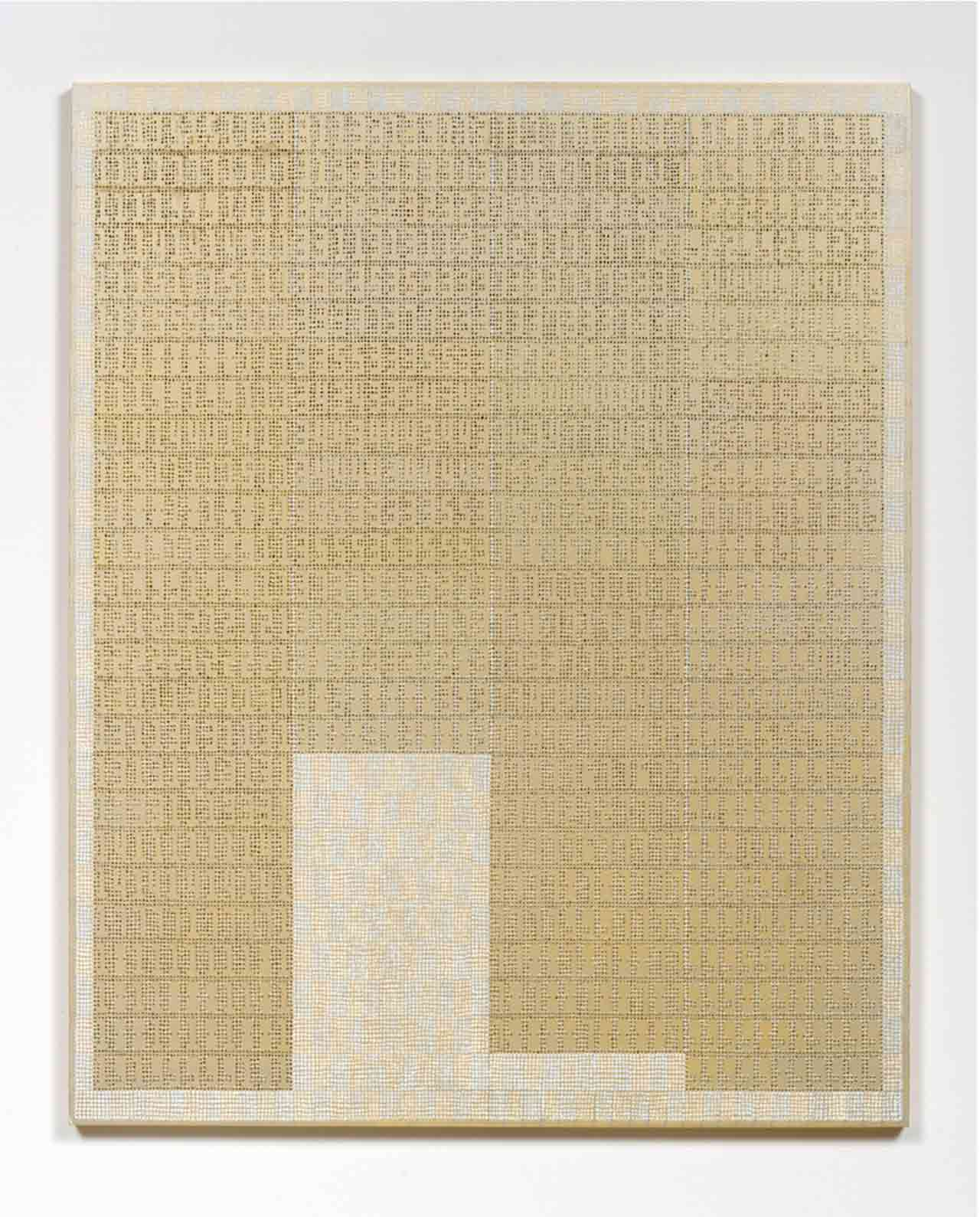 Gold Xylor Jane painting, covered with numbers painted with tiny silver dots forming numbers in their negative space.