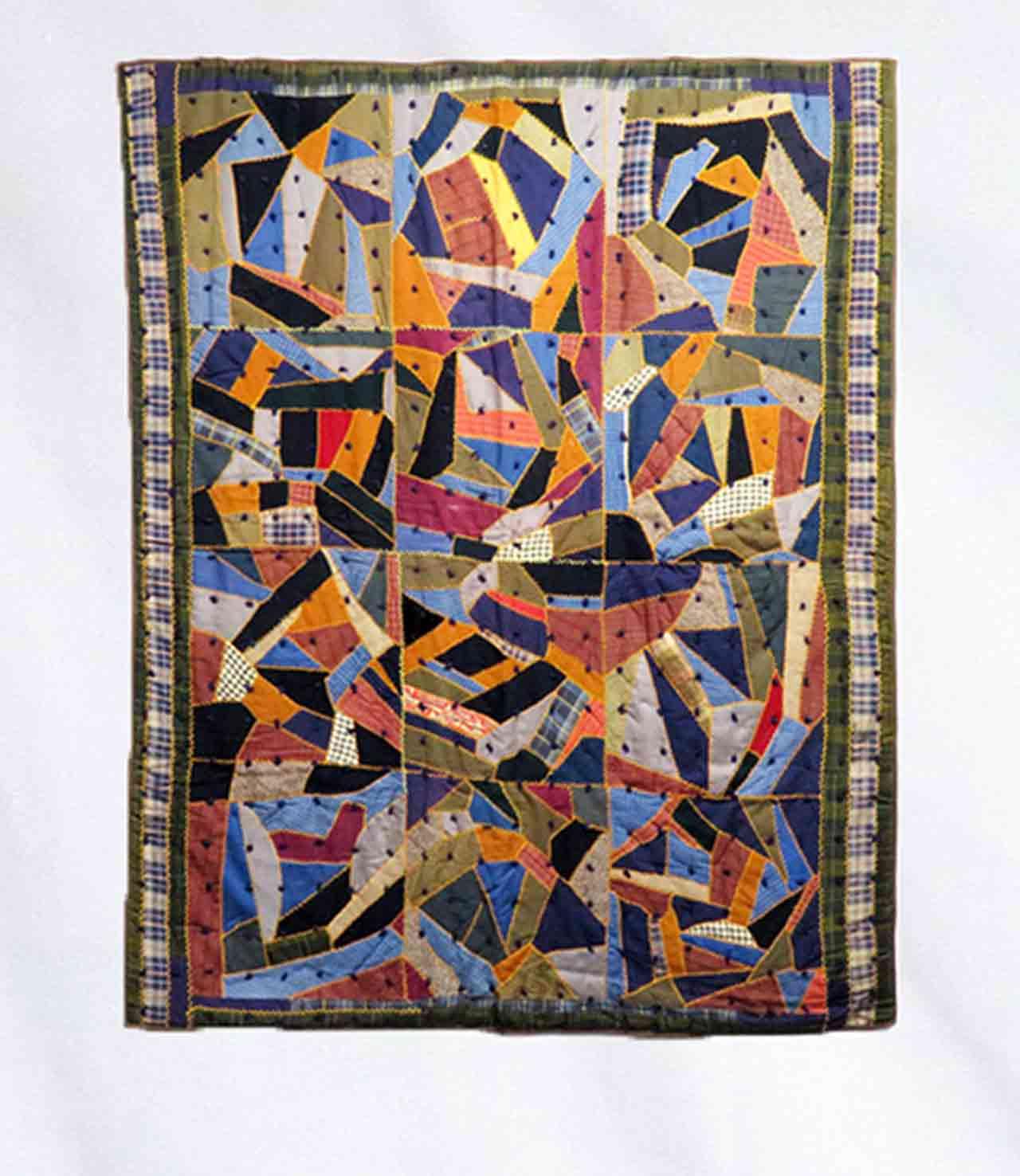 Crazy quilt, circa 1895, with twelve multicolored squares