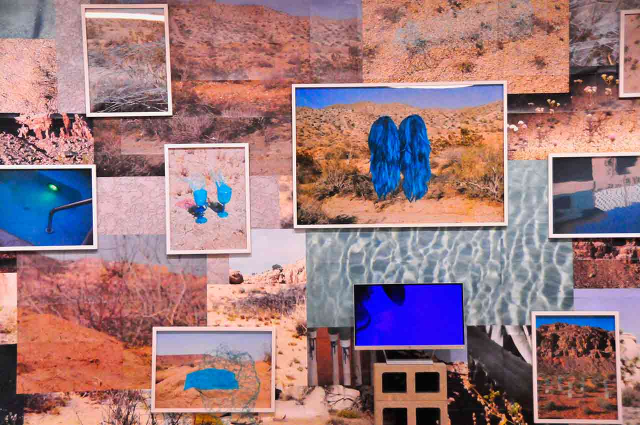 A wall covered with overlapping photographs